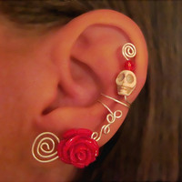 Non Pierced Ear Cuff - Halloween, Dia de los Muertos, Samhain Skull &amp; Flower