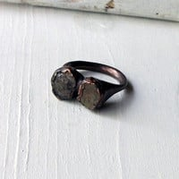 Copper Ring Black Star Sapphire Organic Artisan Raw Gem Stone Crystal
