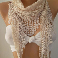 White / Elegance  Shawl / Scarf with Lacy Edge