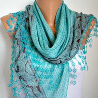 ON SALE -Summer Scarf Shawl  -  Cotton Weddings Scarves -  Cowl  with  Lace Edge - Teal