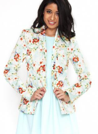 Flower Print Single Lapel Long Sleeve Blazer