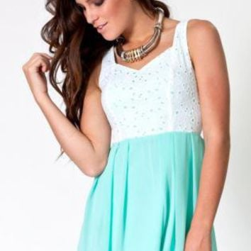 Mint Green Dress with White Overlay Bodice&Heart Cutout Back