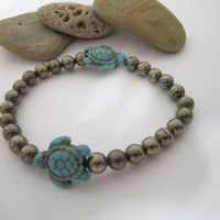 Pyrite Bracelet with Sea Turtle Beads by 636designs