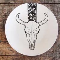 Bison Skull Plate with Chevron Pattern - Hand Drawn Illustration, Black and White