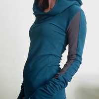 extra long sleeved hooded top Teal and Cement Grey color block