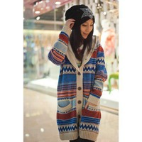 Women Beige Heavy Warm  Wool Bends Sweater Coat@T658be