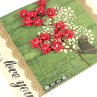 Love you - Valentine's Day Card - Red Flowers - For Her