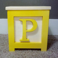 Wooden Block Step Stool All Yellow P Handmade 12&quot; Tall Very Cool