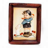 Vintage Ceramic Plaque Wall Hanging, Boy Rabbit