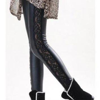 Lace/PU Contrast Black Skinny Leggings