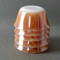 Fire King Peach Lustre Custard Cups 6 oz