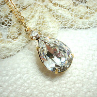 Gold necklace with large Swarovski clear crystals