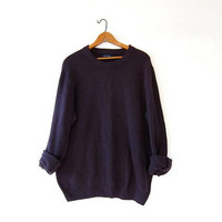vintage boyfriend sweater. cable knit sweater. dark purple oversized pullover.