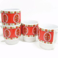 Vintage Coffee Mugs Ceramic Red Yellow Orange Floral Set 4 Cups Japan