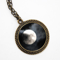 Moon Pendant black and white print - antique bronze necklace - wearable art