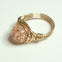 30% OFF SHOP Crackle and Gold Wire Wrapped Ring