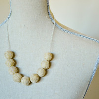 Burlap Bead Necklace - Simple, Modern, Natural