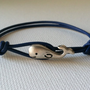 Whale Leather Bracelet  - 6 Leather Cord Colors Available