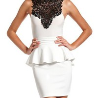 Delicate Lace-Top Peplum Dress: Charlotte Russe