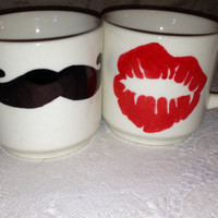 His & Hers Mustache Lip Mugs