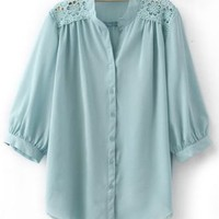 Light Blue Crochet Flower Shoulder Puff Sleeve Blouse - Sheinside.com