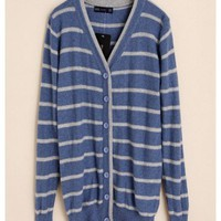 Women Autumn Euro Style Stripe Slim V-Neck Long Sleeve Blue Knitting Cardigans One Size@WH0064bl $17.94 only in eFexcity.com.