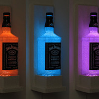 Jack Daniels Wall Mount Color Changing LED Remote Controlled Eco Friendly rgb LED Bottle Lamp/Bar Light - Sconce -Bodacious Bottles-