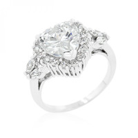 Heart Halo Engagement Ring (size: 05) - Heart Halo Engagement Ring (size: 05) / Silver, Clear