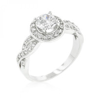 Round Cut Halo Engagement Ring (size: 05) - Round Cut Halo Engagement Ring (size: 05) / Silver, Clear