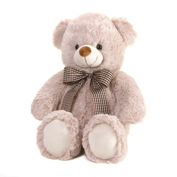 Beige Bear With Bow Plush 18' - Beige Bear With Bow Plush 18'