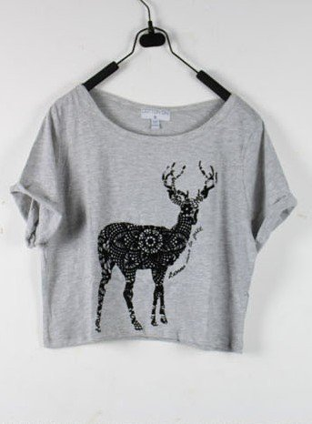 Deer Grey Round Neck Short Sleeve Crop T Shirt - Sheinside.com
