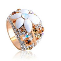 White Flower Diamond And Blue Gemstone Mounted Hollow Exquisite Crystal Flowers 16 Circumference 5.6cm Woman Ring - Sheinside.com