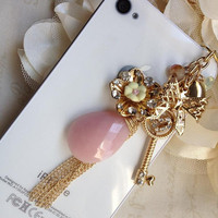 iphone dust plug Phone dust plug Blackberry and phone charm-Pink Oval