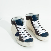 Mid-Rise Sneaker in Silver/Navy - Silver/Navy /
