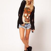 ASOS T-Shirt with Floral Skull in Burnout at asos.com
