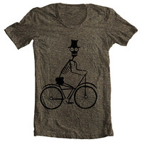 Bicycle T shirt Men's Women's Skeleton Biker Top Hat  American Apparel Tee Tri Blend - Tri Coffee (9 COLORS) Sizes xs, s, m, l, xl  (cts)