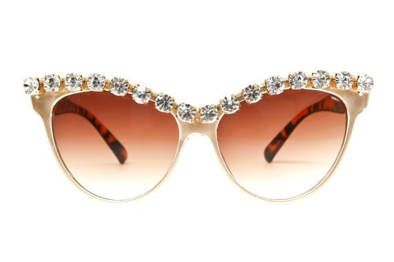Kershaw Rhinestone Cateye Sunglasses (Crystal/Gold)