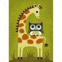68R Retro Owl And Giraffe 5x7 Print on Luulla