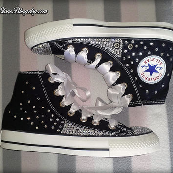 High Top Black Bling Converse / Swarovski / Handmade