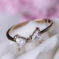 Simply Bow Rhinestone Ring (Thin Band, Adjustable)