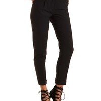 Singe Pleat High-Waisted Trousers by Charlotte Russe - Black