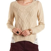 Lace-Trim Cable Knit Sweater by Charlotte Russe - Warm Sand