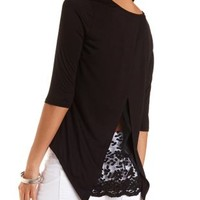 Embroidered Flyaway High-Low Top by Charlotte Russe - Black