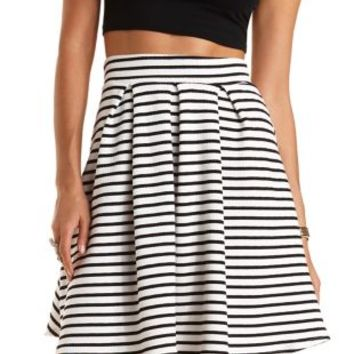 Striped & Pleated Skater Skirt by Charlotte Russe - Black/White