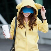 Yellow Bear Ear Thick Fleece Hooded Sweatshirt$38.00