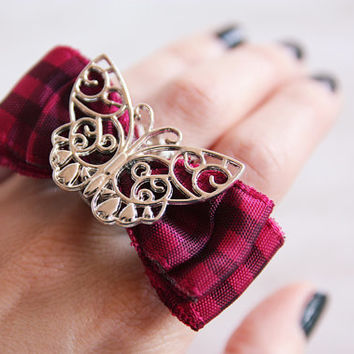 Butterfly on a Pink Bow Ring