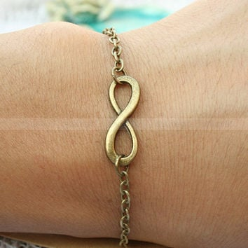 Bracelet--infinity karma bracelet for girlfriend, vintage boyfriend infinity bracelet, gift for friends