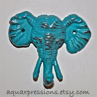 Elephant Wall Hook / Turquoise /Shabby Chic Decor /Nursery /Bathroom fixture /Jewelry Holder /
