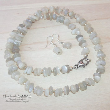 Moonstone necklace and earrings, Jewelry set, Stone jewelry, Statement necklace, Necklace for her, Gift for her, Stone necklace
