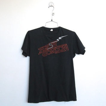 Vintage 1980s Flash Gordon Promo Tshirt / Black Unisex Tee